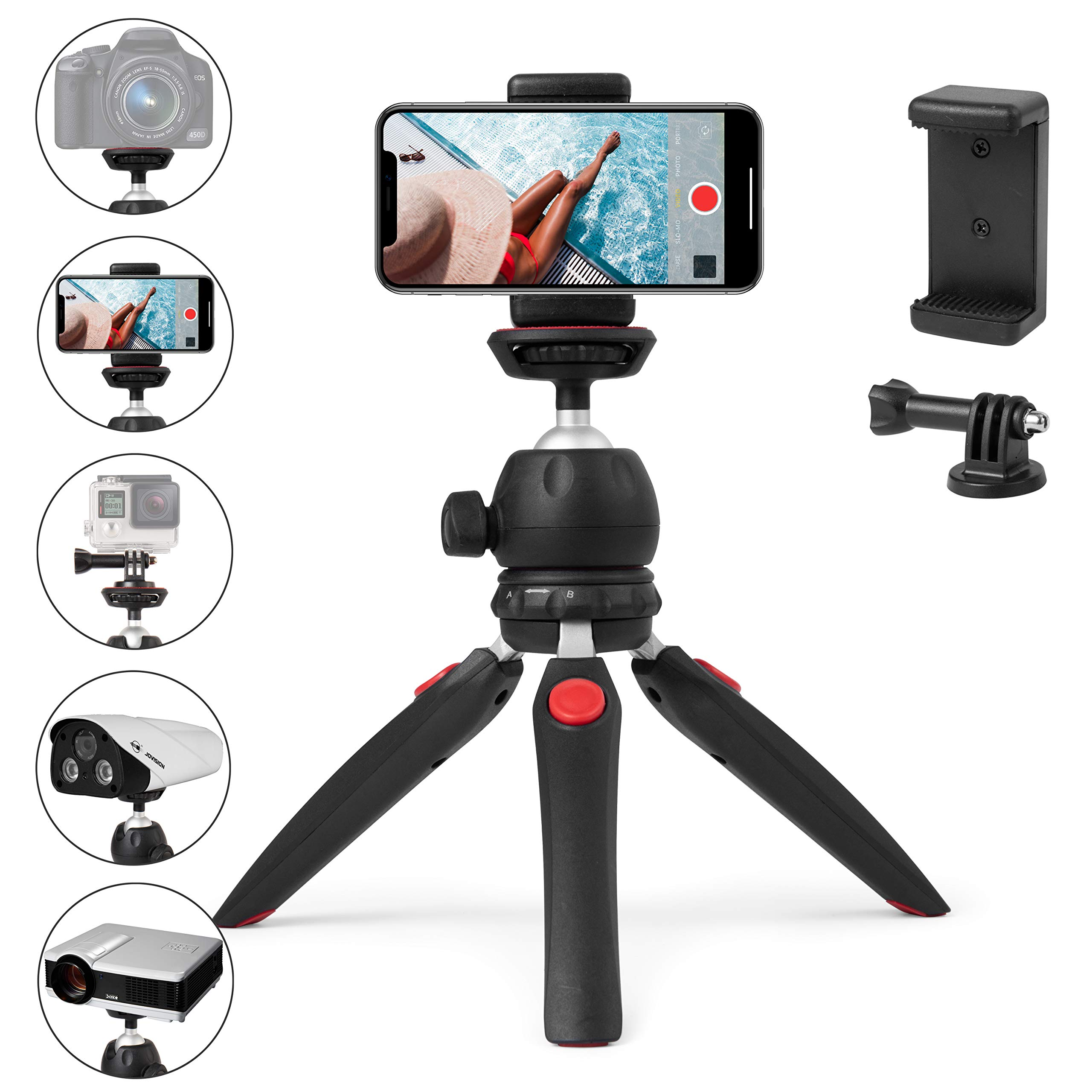 Polarduck Mini Tripod, Cell Phone Tripod, Tabletop Holder Tripod Stand for iPhone/Camera/DLSR/Android Smartphone/Projector with Universal Phone Mount & GoPro Mount, Fully Adjustable Angle & Rotation by Polarduck