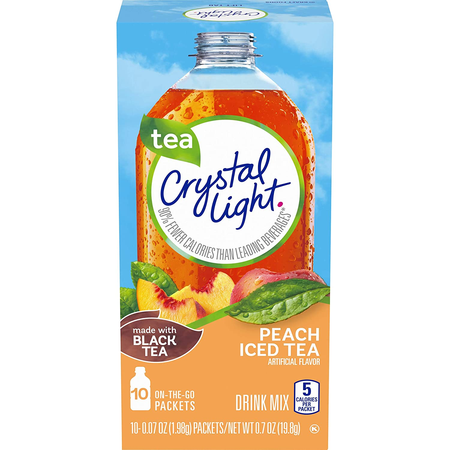 Crystal Light Peach Iced Tea Drink Mix (120 On-the-Go Packets, 12 Packs of 10)
