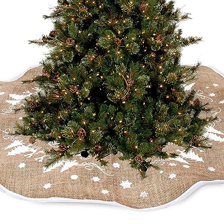 Falda de arpillera con diseño vintage para base de árbol de ...