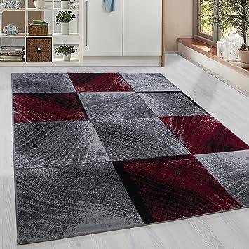 Amazon De Homebyhome Moderner Kurzflor Guenstige Teppich Karo