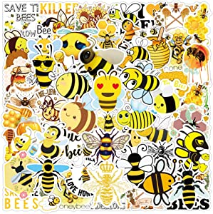 50 Pcs Save The Bees Stickers| Cute Little Bees Waterproof Vinyl Stickers for Water Bottles Laptop Refrigerator Luggage Computer Mobile Phone Skateboard Honey Bees Decals