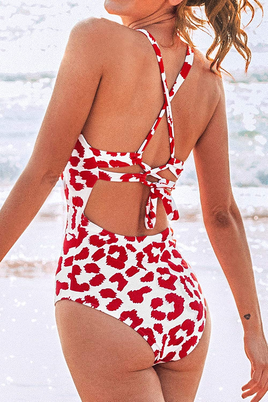 CUPSHE Womens One Piece Swimsuit Deep V Neck Monokini Lace Up Leopard Bathing Suit