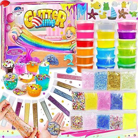 Image of DIY Slime Kit para Niñas Niños, Fabrica de Slime con 18 Colores Crystal Slime, Resplandor en el Polvo Oscuro, Polvo de Brillo y Más para Los Amantes del Unicornio Juguete Niños 5+Años