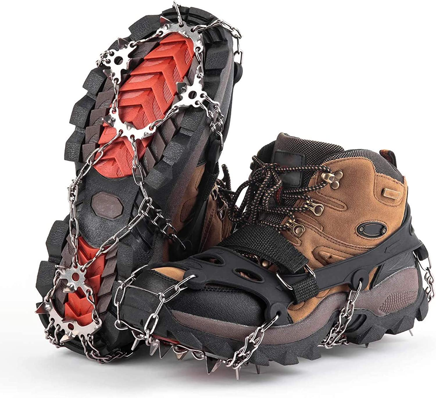Ice Traction Cleats with 18 Shoe Spikes Anti Slip Boots Spikes Safe Protect for Walking Moutaineering Hiking Jogging Ice Snow Grips Climbing Homo Trends Crampons