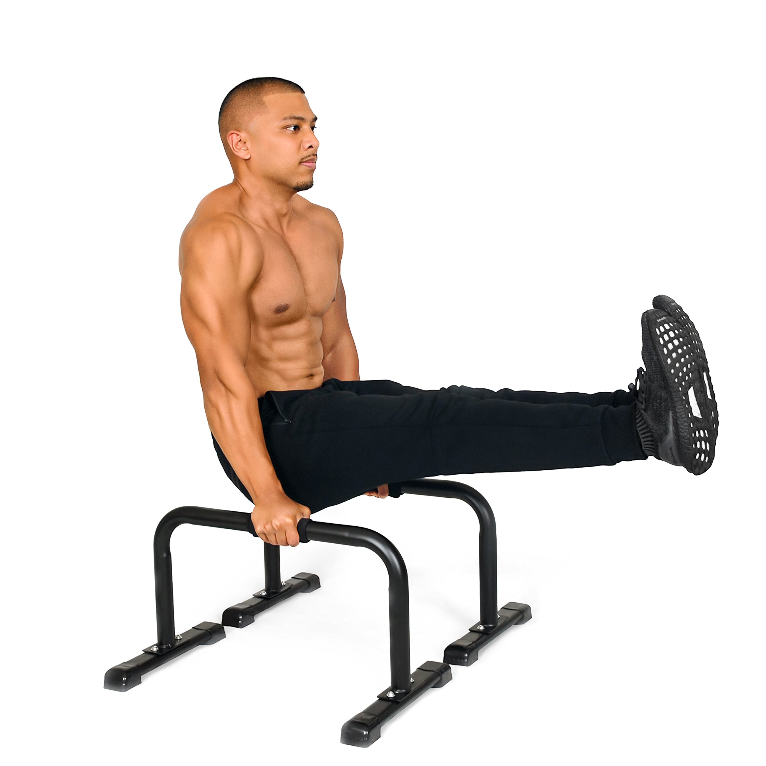 Simple Fitness Steel Bar Parallettes—14x24 Inch—Non-Slip Feet and Attachable Foam
