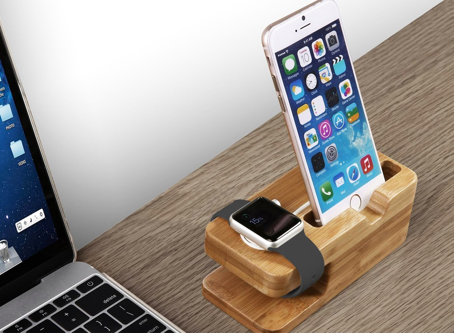bamboo apple watch and iphone stand
