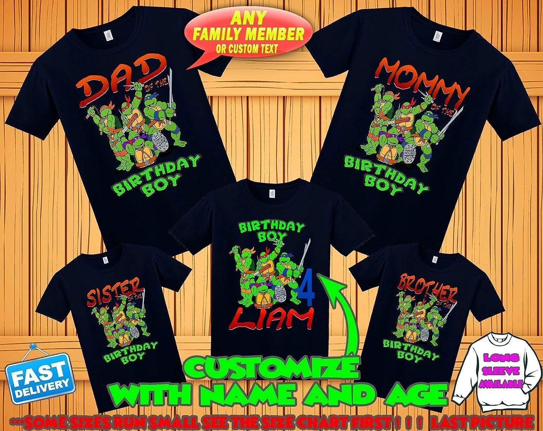 d8a1ddfa8 Amazon.com: TMNT Ninja Turtles birthday shirt, Teenage Mutant Ninja Turtles  birthday tshirt, tmnt theme party shirts, ninja turtles family matching  shirts: ...