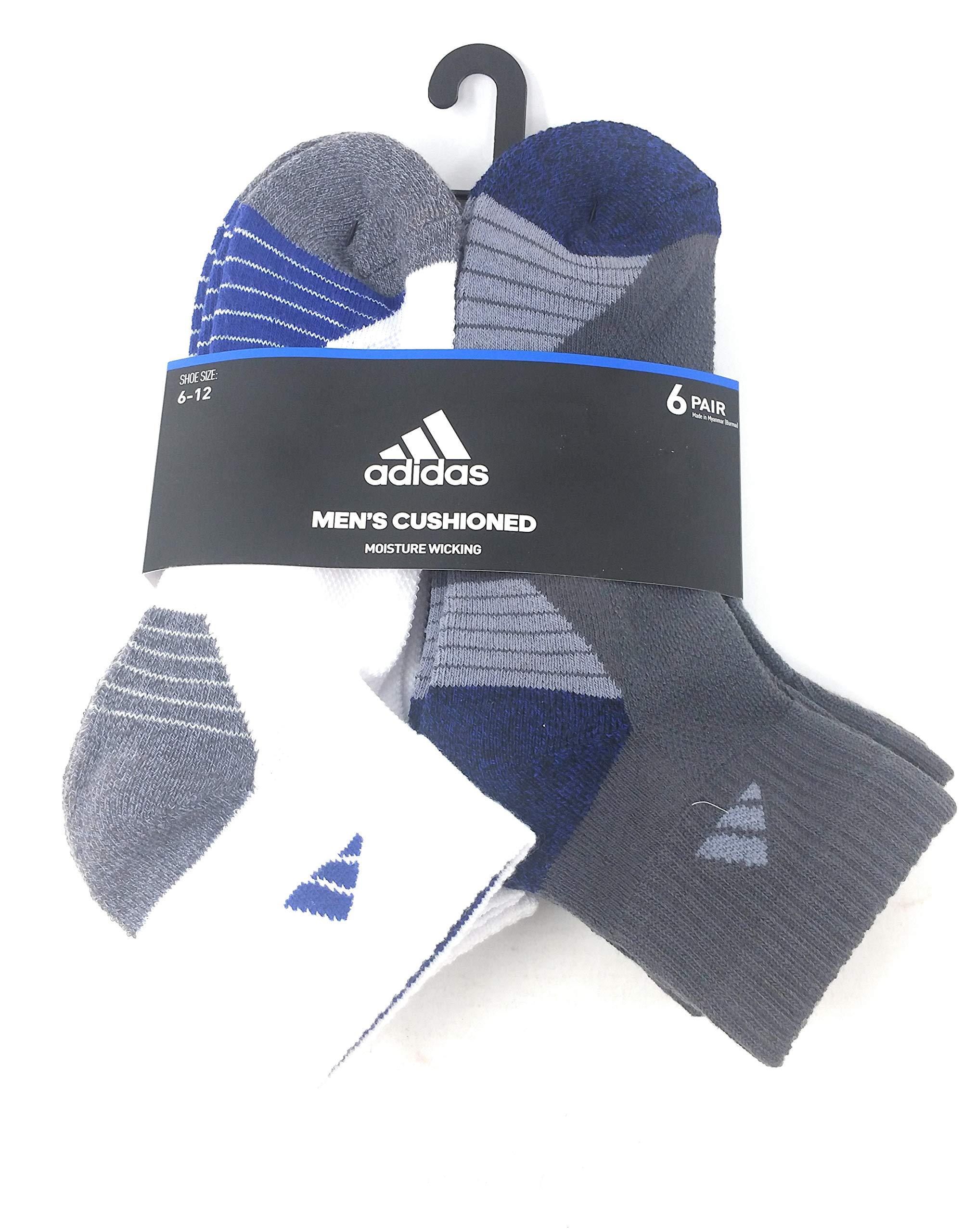 Adidas Men's Cusioned Socks, Moisure Wicking, Ankle Socks, 6-Pack, Size 6-12