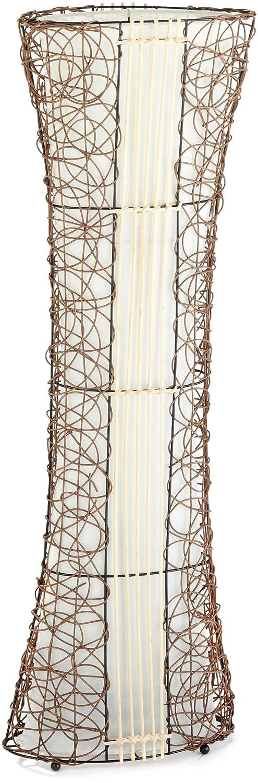 Trio-Leuchten 416600200 Stehleuchte, Ausführung Rattan, Stoffschirm innen weiß