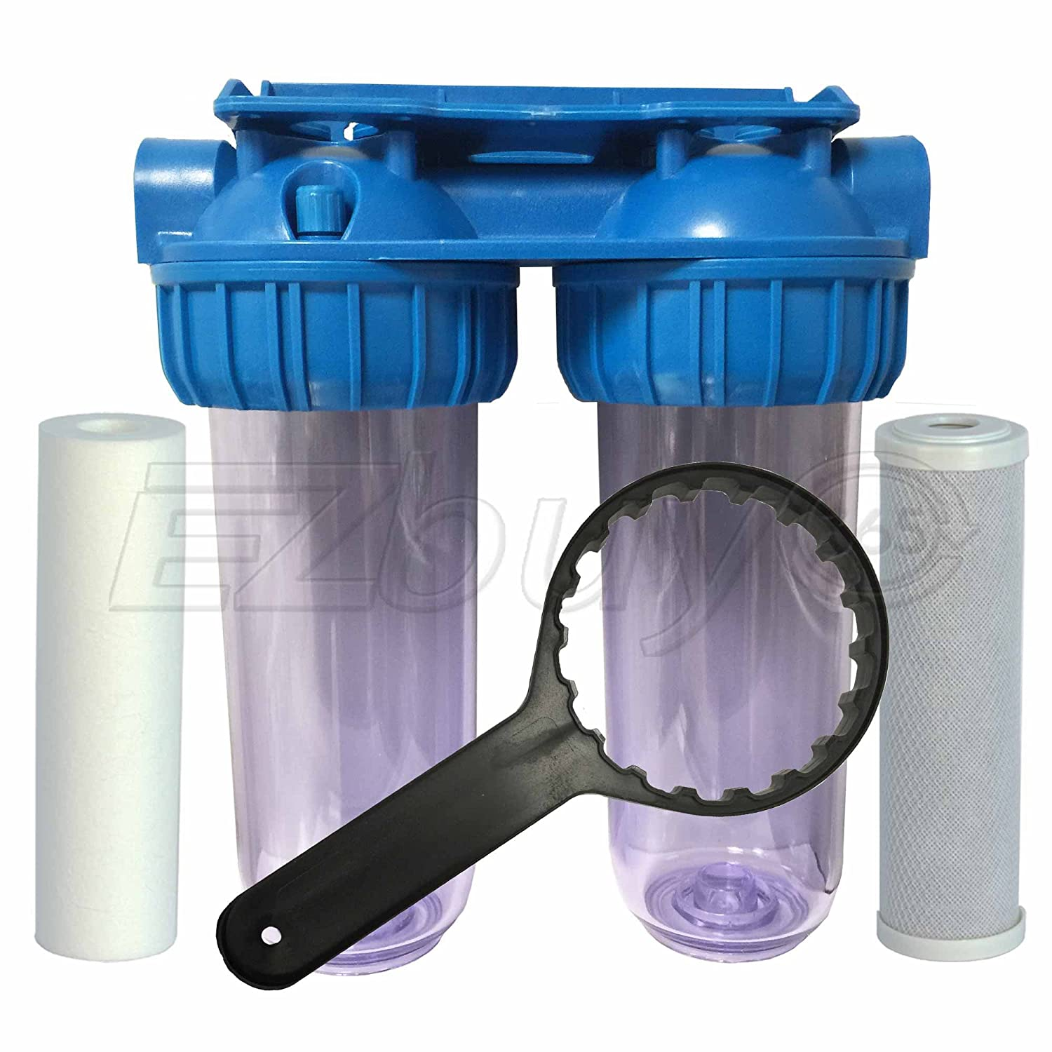 Whole House Sediment Water Filter Dual Whole House Water Filter Purifier With Carbon Block And