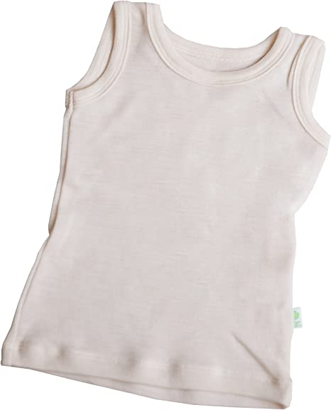 GREEN ROSE Kids Sleeveless T-Shirts Undershirts Baby Girl Boy Tee Shirts 100/% Merino Wool 3mo-12yr.