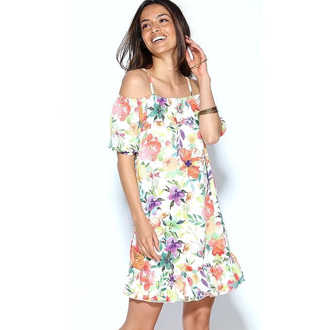 VENCA Vestido Estampado Flores Manga Corta y Hombro al Descubierto con Tirantes by Vencastyle: Amazon.es: Ropa y accesorios