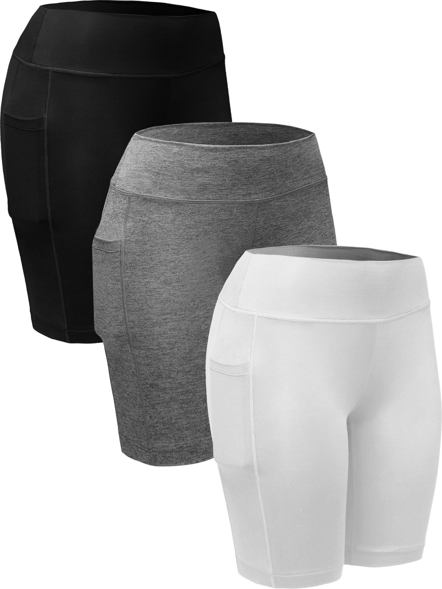 Neleus Women's Workout Compression Long Shorts with Pocket,9005,3 Pack,Black,Grey,White,US XL,EU 2XL