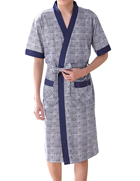 Haseil Men s Kimono Bathrobe Shawl Collar Lightweigt Short Sleeve Cotton  Spa Robe 9bc39d5a9