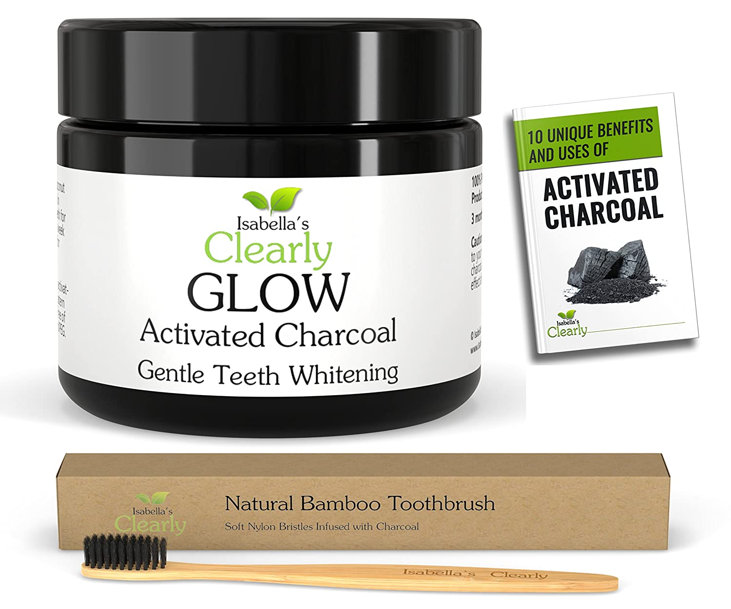 Isabella's Clearly GLOW (BULK) Teeth Whitening Activated Charcoal + Soft Bamboo Toothbrush. #1 Product in Canada. 100% Pure Food Grade Non-GMO, Better than Strips, Bleach, Toothpaste. RISK FREE. (80g) Isabella' s Clearly