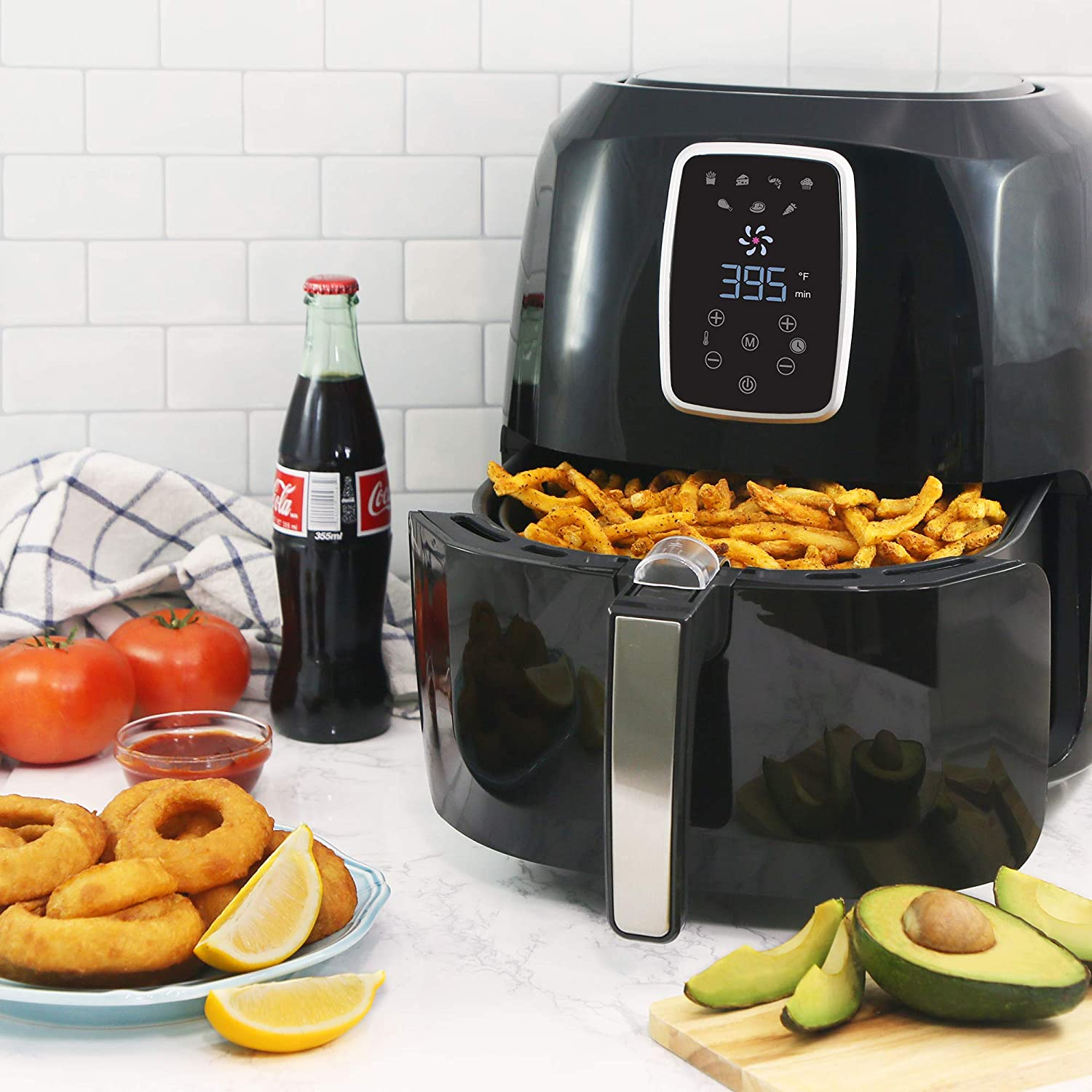 Elite Platinum EAF-1616 Electric Digital Hot Air Fryer Oil-Less Healthy Cooker with Extra Large Capacity-4 Lbs of Food, 7 Menu Functions, PFOA PTFE Free, 1800-Watts with 26 Recipes, 5.5 Quart, Black