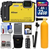 Nikon Coolpix W300 4K Wi-Fi Shock & Waterproof Digital Camera (Yellow) with 32GB Card + Case + Battery + Monopod + Floating Handle + Kit