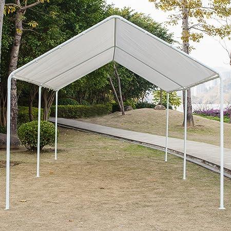 Lykos Cobertizo para coche con 6 tubos blancos de 10 x 50 cm: Amazon.es: Jardín