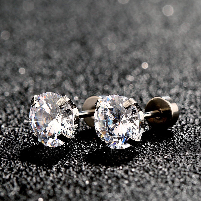 5542d18d2272 6 Tamaños Pendientes 6 Pares 18G Aretes de Perno de Zirconia Cúbica de Acero  Inoxidable Piercing ...
