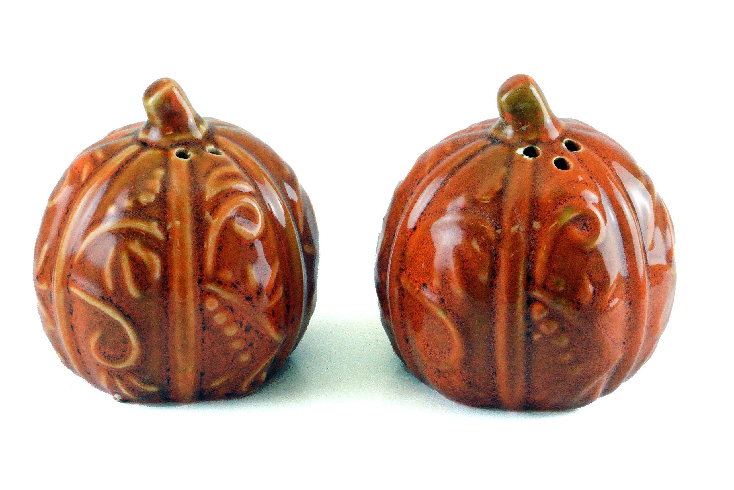 Swirled Vine Pumpkins Fall Porcelain Salt & Pepper Shakers by Gerson