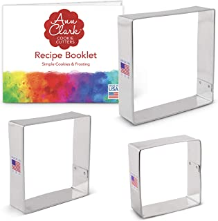 "product image for Ann Clark Cookie Cutters 3-Piece Square Cookie Cutter Set with Recipe Booklet, 2.5"", 3"", 3.5"""