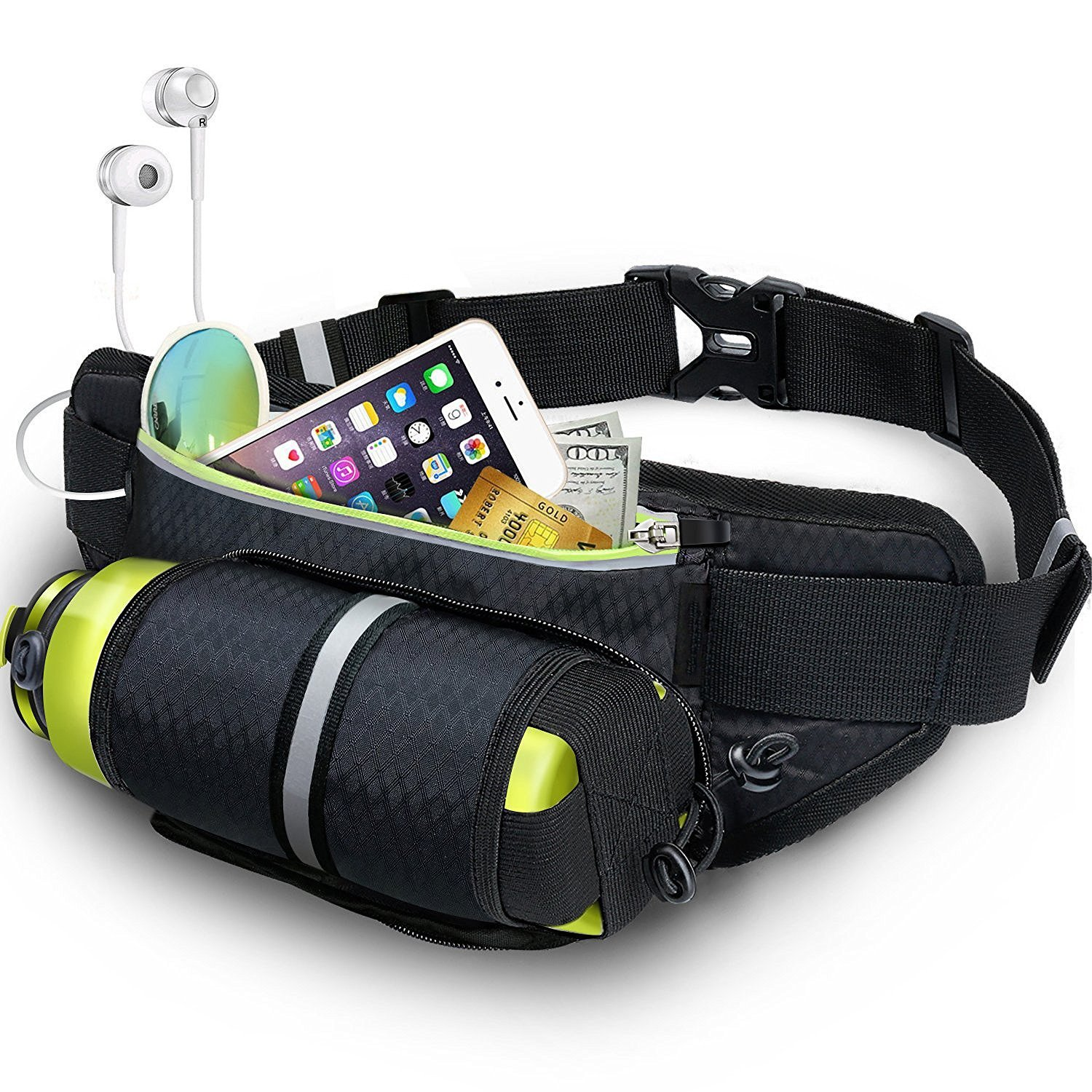 Waist Pack with Water Bottle Holder Waterproof Sports Belt for Women Men Outdoors Traveling Hiking Cycling Light Reflection Strip Headphone Slit for iPhone 8plus X Galaxy Cards Keys by HomeMiYN