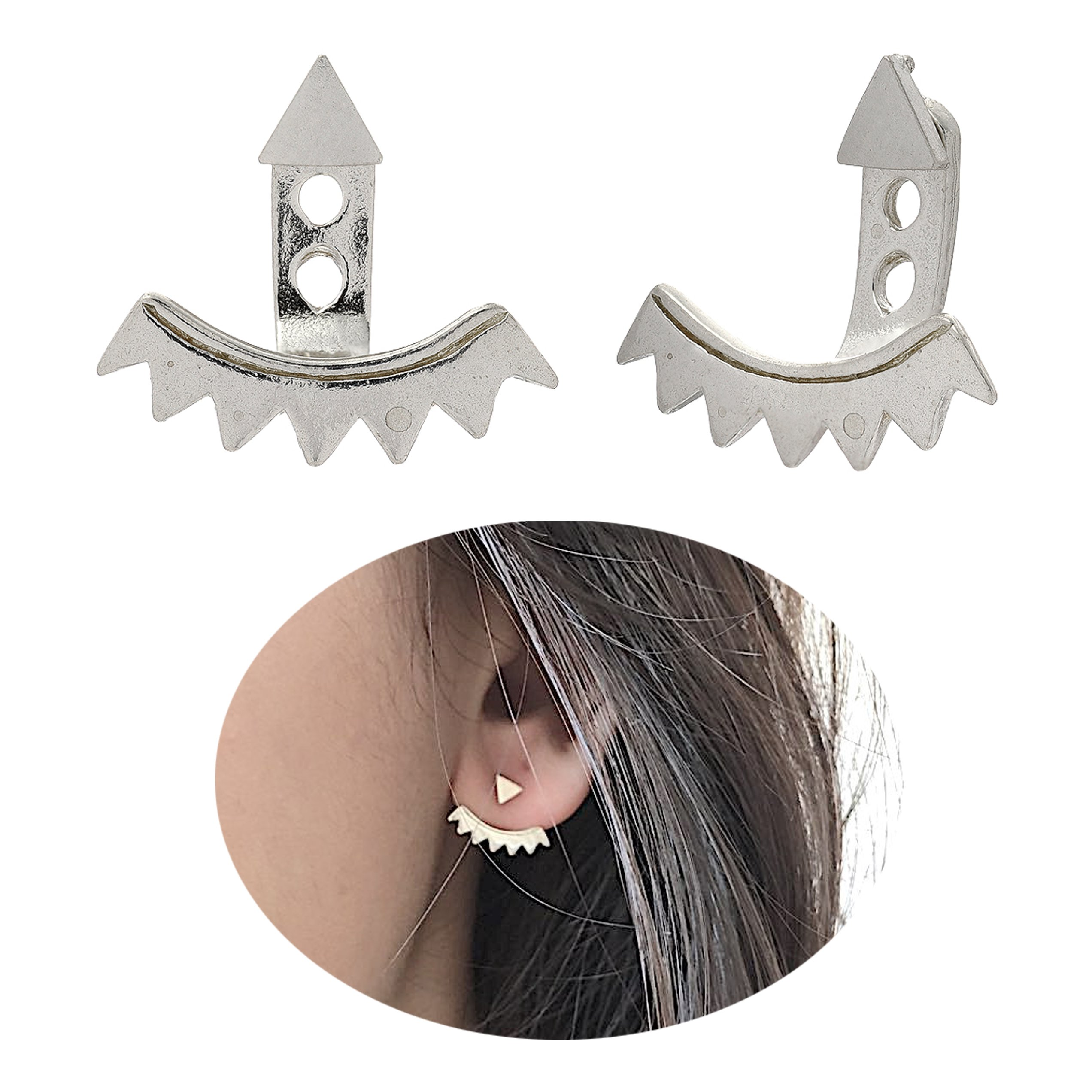 Front and Back Ear Jacket Earrings - 925 Sterling Silver