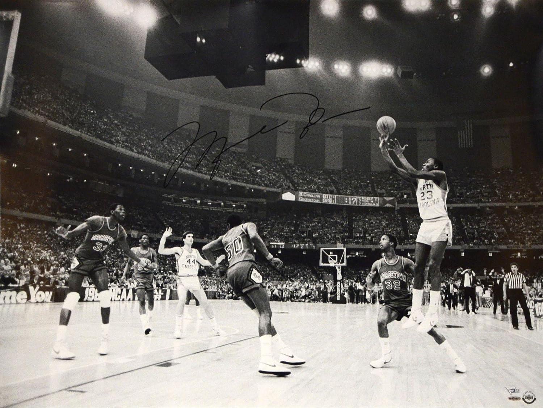 Michael Jordan North Carolina Tar Heels Autographed 30 x 40 1982 Championship Photograph Upper Deck Fanatics Authentic Certified