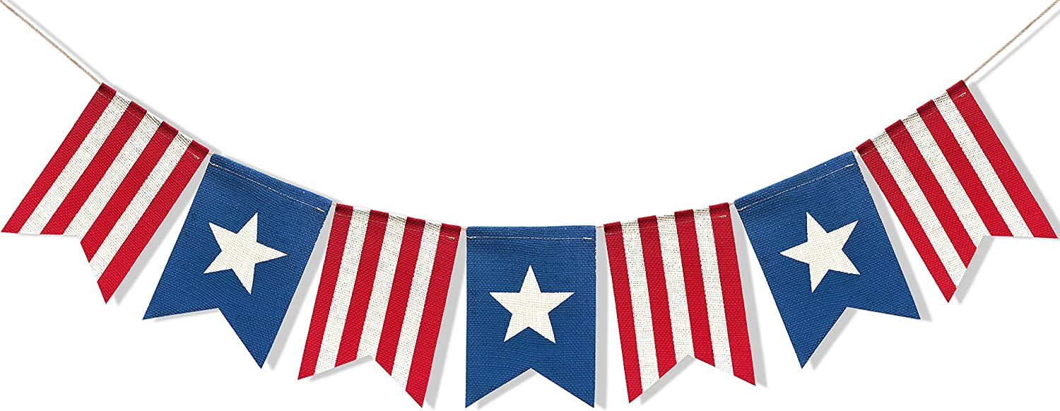 Uniwish American Flag Bunting Banner 4th of July Decorations, Patriotic Stars and Stripes American Independence Day Indoor Outdoor Hanging Sign