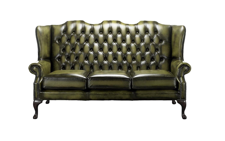 Designer Sofas 4 U Chesterfield Schienale Alto Mallory Divano a 3/posti in Pelle Anticata WXDXH Antique Tan, 180x81x106 CM