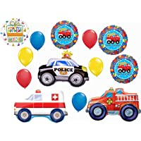 Fire Engine Truck Party Supplies Birthday Balloon Bouquet Decorations 13 piece kit with Rescue Team Police and Ambulance