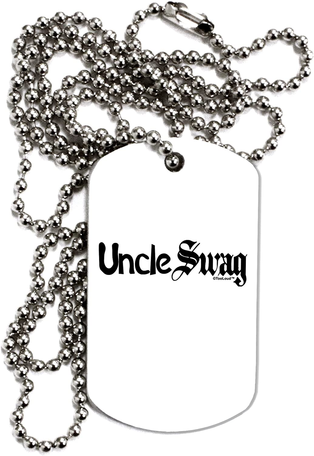 TOOLOUD Uncle Swag Text Adult Dog Tag Chain Necklace