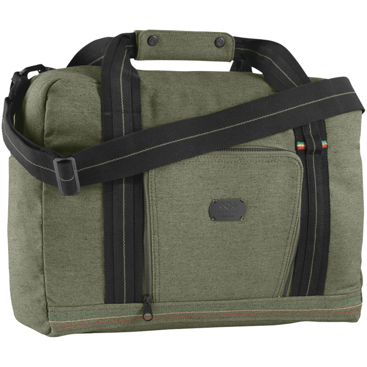 House of Marley, Lively Up Overnighter Bag, Padded External Laptop Pocket, 19.5in x 11.75in x 7.75in, Removable Shoulder Strap, Made of Hemp and Organic Cotton, BM-JD000-MT Military