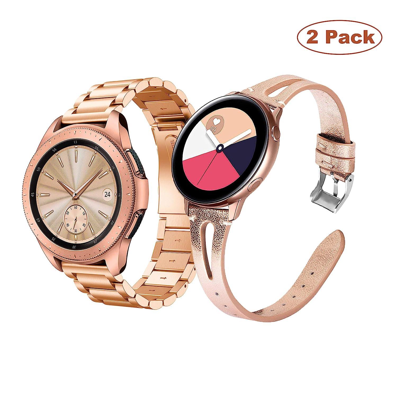 Yayuu Correa de Reloj para Samsung Galaxy Watch Active/Active 2 40mm 44mm/Galaxy Watch 42mm/Gear Sport, 20mm Acero Inoxidable Metal Banda Pulsera de ...