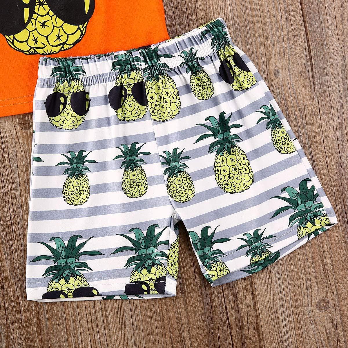 Fepege 2Pcs Newborn Baby Boy Summer Short Set Short Sleeve Pineapple Print T-Shirt Tops and Shorts Beach Clothes Outfits