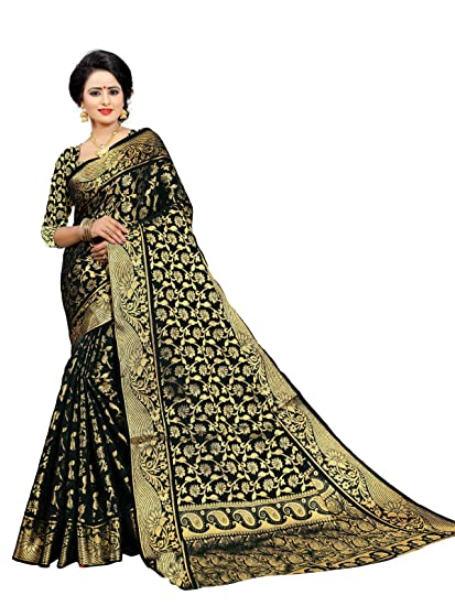 1ac84f8cc46e1f Gauri Laxmi Enterprise Women s Art Silk Sarees (Black)  Amazon.in ...