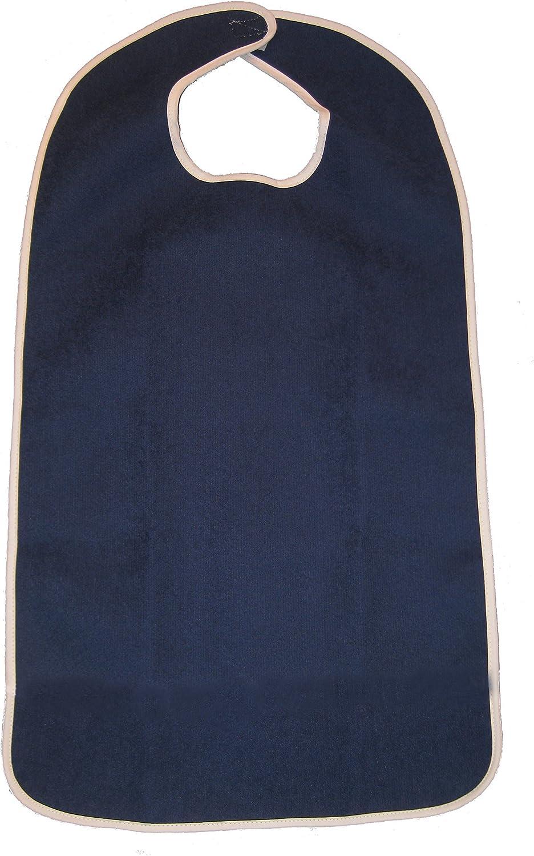 FlexaMed Waterproof Terry Cloth Adult Bib w/Closure (Dark Blue - 16