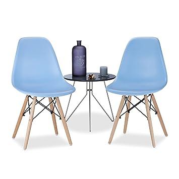 Relaxdays Chaise Salle à Manger Design Retro Bleue Arvid Lot De 2