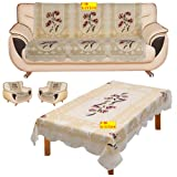 FAB NATION 10 Sofa Panels for 5 seater - Net sofa cover and chair cover set with Table Cover - Multicolor