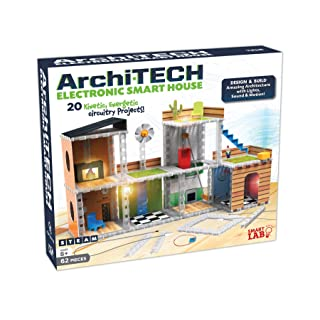 """SmartLab Toys Archi-Tech Electronic Smart House - 62 Pieces - 20 Projects - Includes Light and Sound, Multicolor, 16 x 10 x 9"""""""