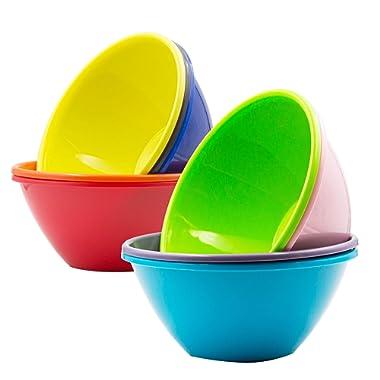 Youngever 32 Ounce Plastic Bowls, Large Cereal Bowls, Large Soup Bowls, Microwave Safe, Dishwasher Safe, Set of 9 in 9 Assorted Colors