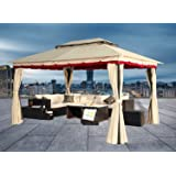 Greenbay 3Mx4M Outdoor Metal Gazebo Canopy Party Tent Garden Pavillion Patio Shelter Pavilion with Side Curtain Net