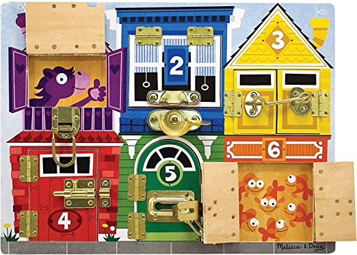 Melissa & Doug- Tablero de pestillos, Multicolor (13785): Amazon ...