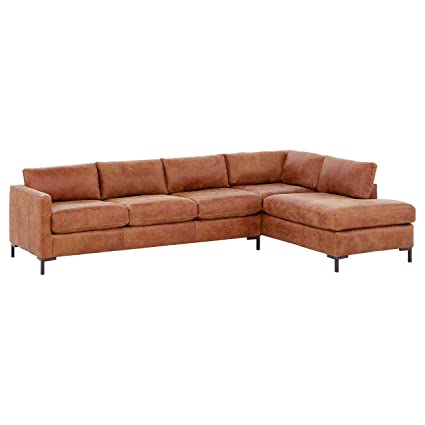 Pleasant Rivet Edgewest Modern Right Facing L Shape Sectional Leather 116W Saddle Alphanode Cool Chair Designs And Ideas Alphanodeonline