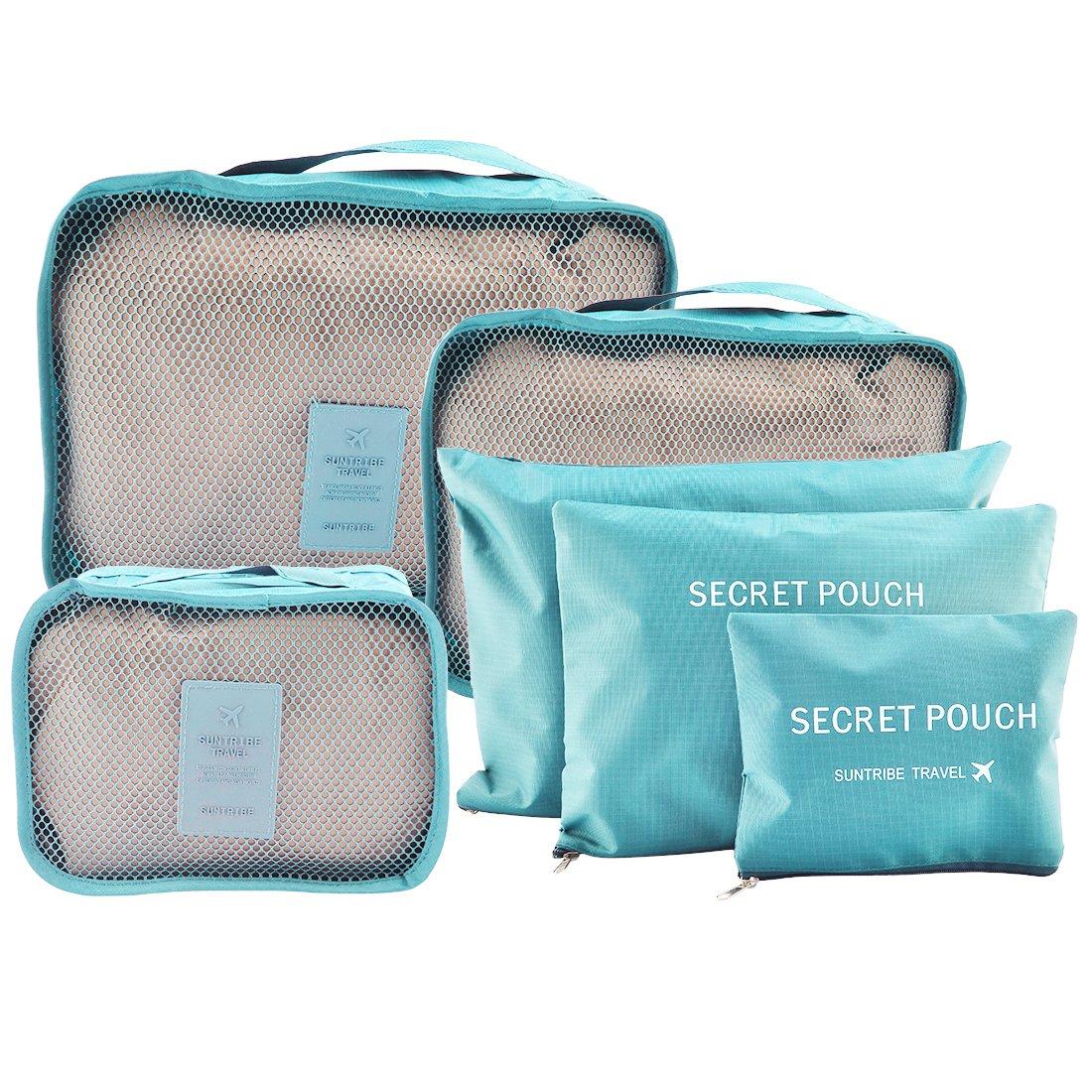 FOKOM 6 Pack Reisetasche in Koffer: Kleidertasche Wäschebeutel Schuhbeutel Kosmetiktasche Aufbewahrungstasche-Blau
