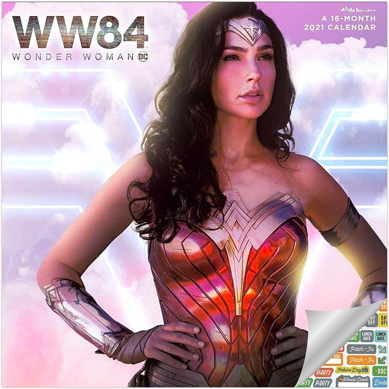 Wonder Woman Calendar 2021 Bundle - Deluxe 2021 Wonder Woman Wall Calendar with Over 100 Calendar Stickers (Wonder Woman Gifts, Office Supplies)