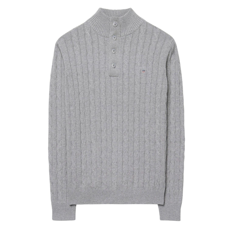 Gant Men's Cotton Cable Mock Neck Grey Melange