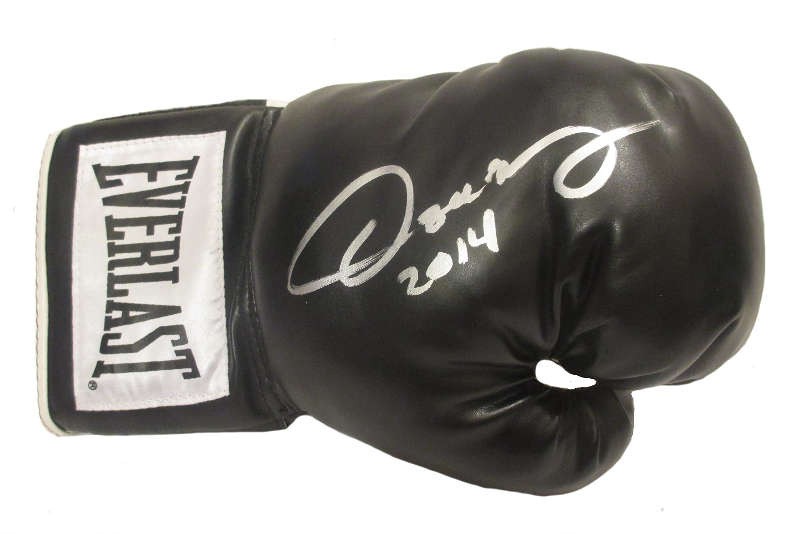 Oscar De La Hoya Autographed Hand Signed Black Everlast Boxing Glove with 2014 Inscription and Proof Photo of Signing, COA
