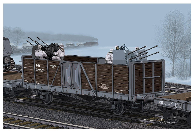 DR6912 German Railway Gondola Typ Ommr w//2cm FLAKVIERLING 38