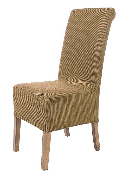 SCHEFFLER-Home Sofia 2 Fundas de sillas, Estirable Cubiertas, Velours extraíble flexibel Funda con Banda elástica, Beige